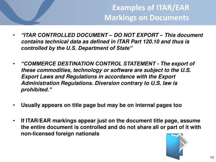 Examples of ITAR/EAR Markings on Documents