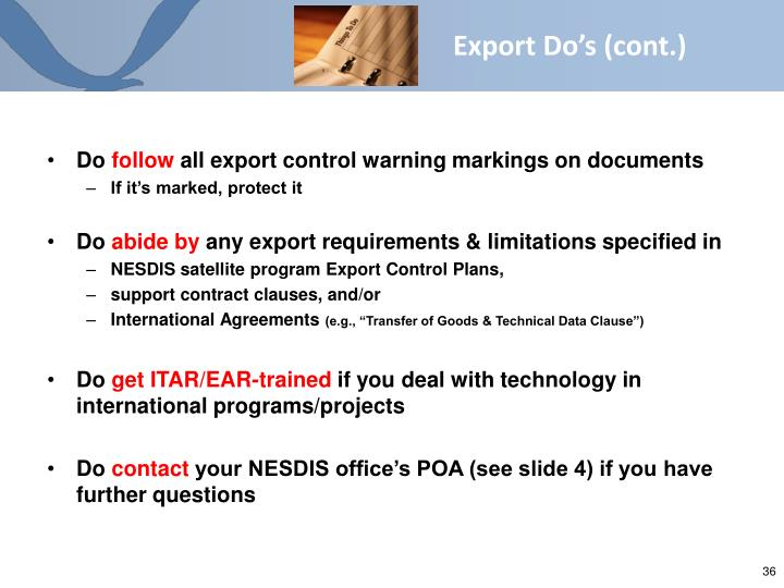 Export Do's (cont.)