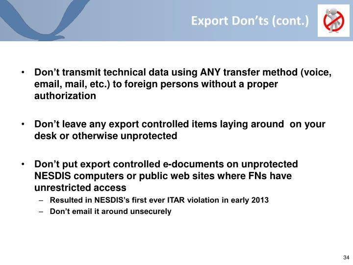 Export Don'ts (cont.)