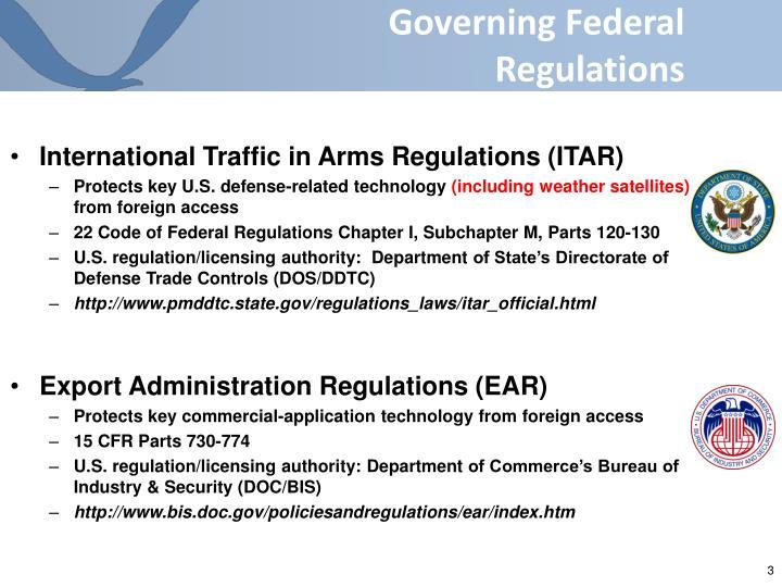 Governing federal regulations