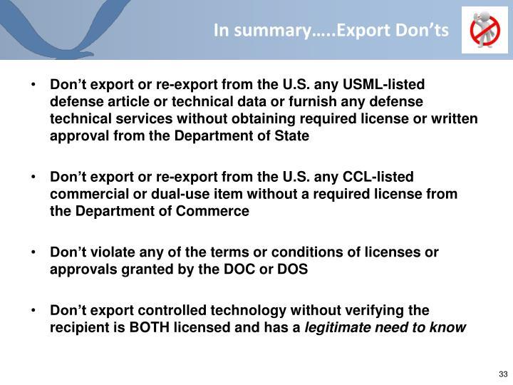 In summary…..Export Don'ts