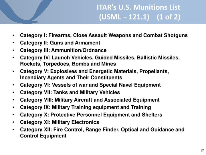 ITAR's U.S. Munitions List   (USML – 121.1)    (1 of 2)