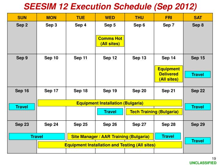 SEESIM 12 Execution Schedule (Sep 2012)