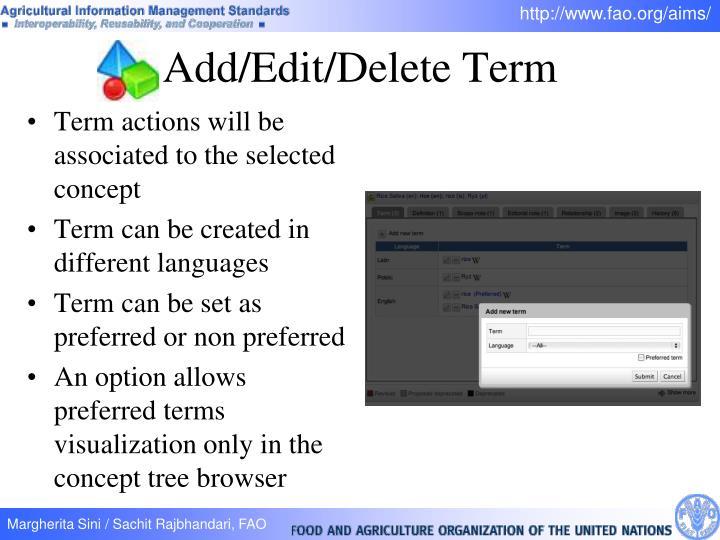 Add/Edit/Delete Term