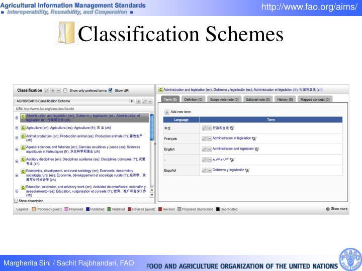 Classification Schemes