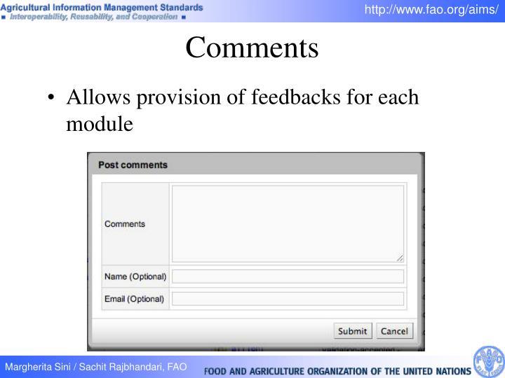 Allows provision of feedbacks for each module
