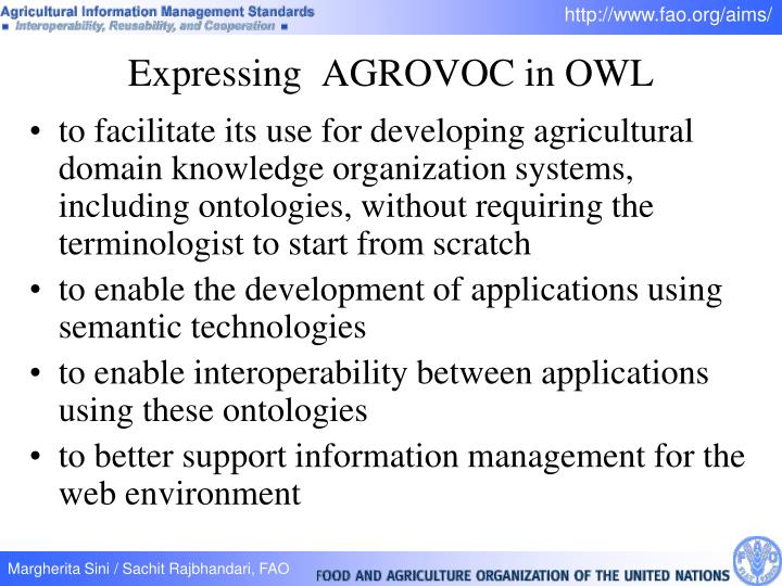 to facilitate its use for developing agricultural domain knowledge organization systems, including