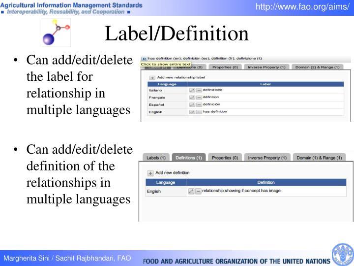 Label/Definition