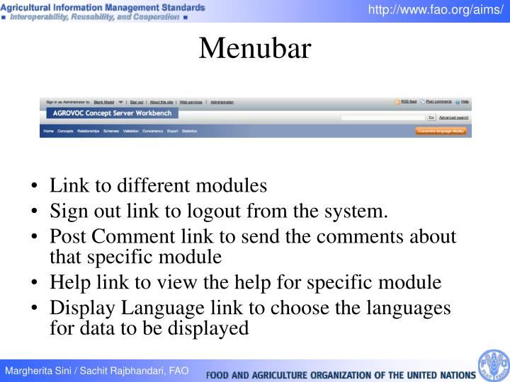 Link to different modules