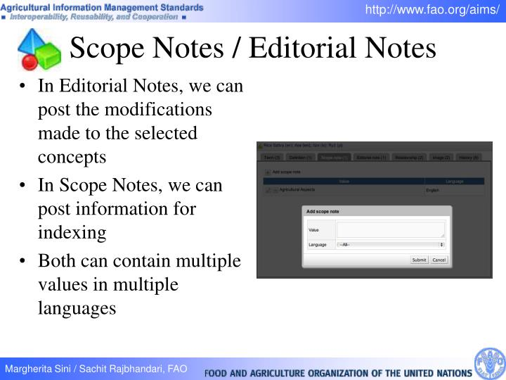 Scope Notes / Editorial Notes