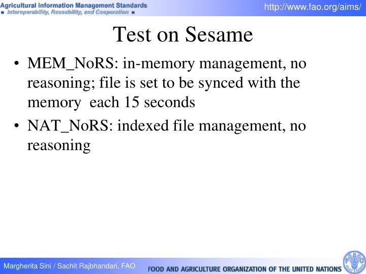 Test on Sesame
