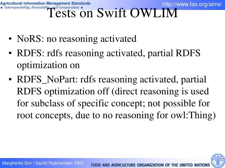 Tests on Swift OWLIM