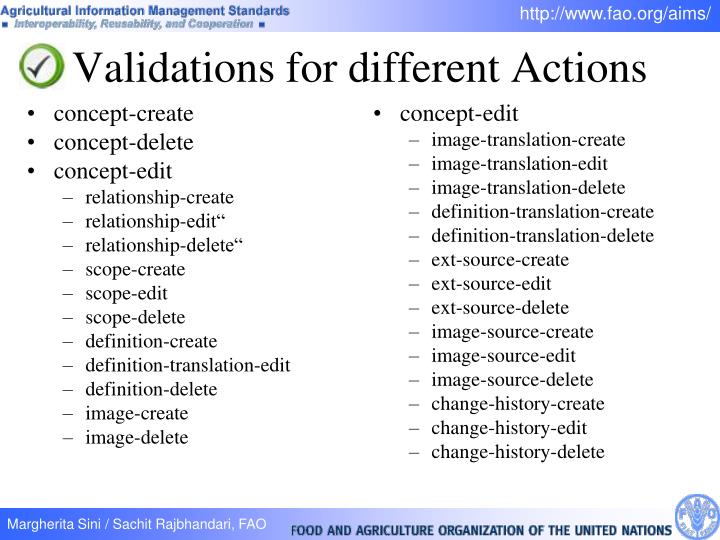 Validations for different Actions
