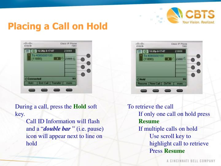 Placing a Call on Hold