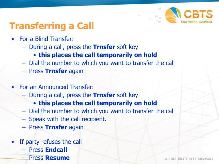Transferring a Call