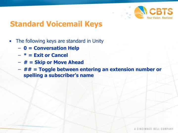 Standard Voicemail Keys