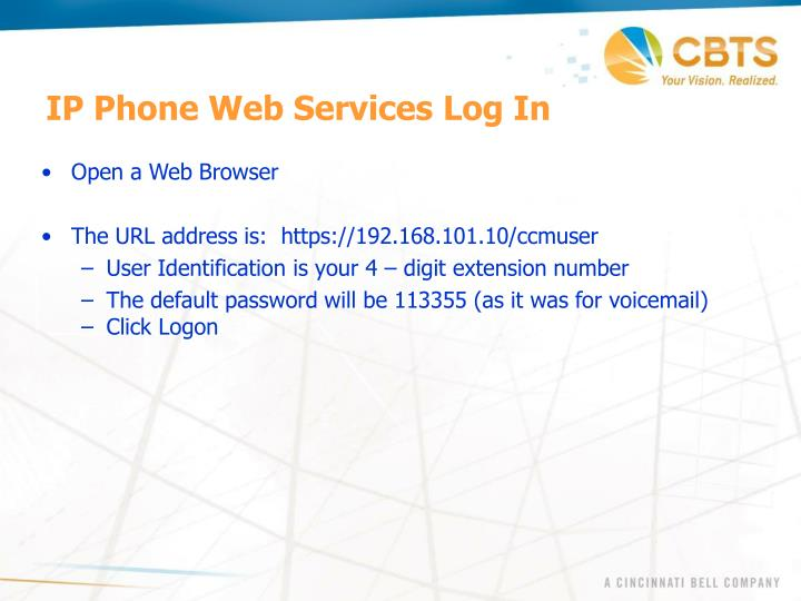 IP Phone Web Services Log In