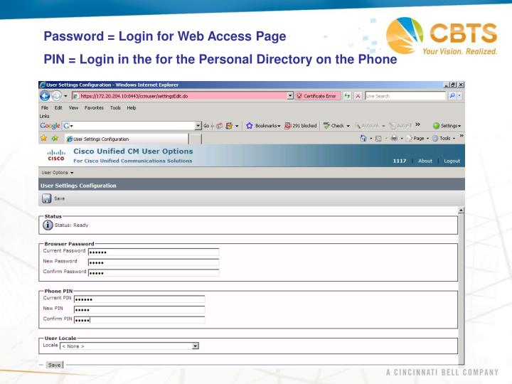 Password = Login for Web Access Page