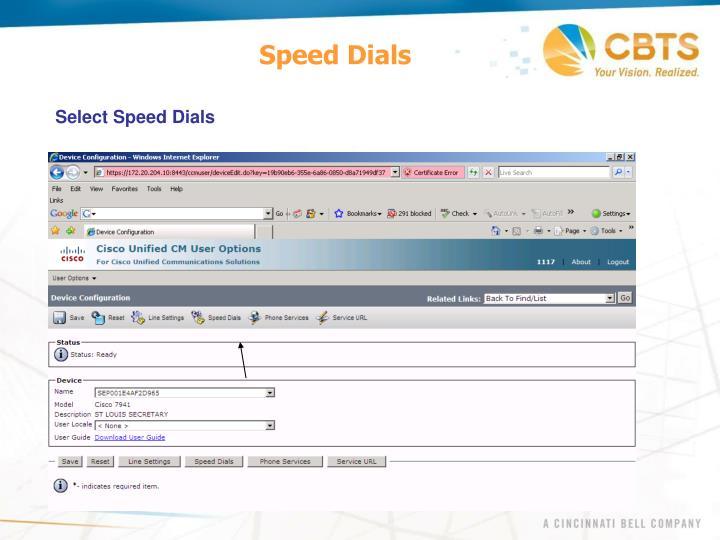 Speed Dials