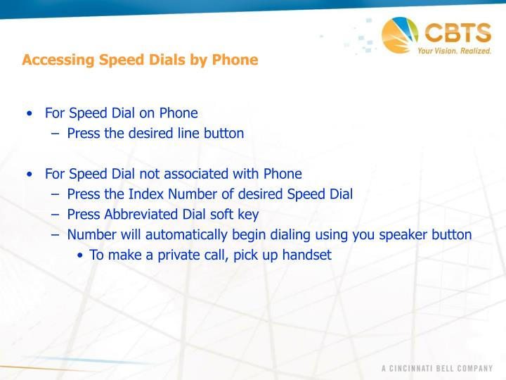 Accessing Speed Dials by Phone