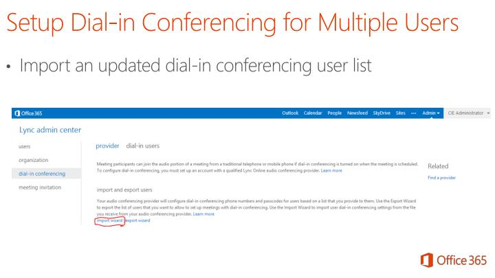 Import an updated dial-in conferencing user list