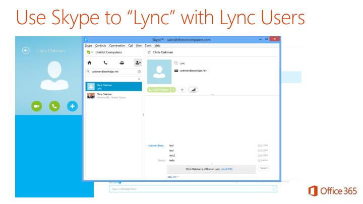 "Use Skype to ""Lync"" with Lync Users"