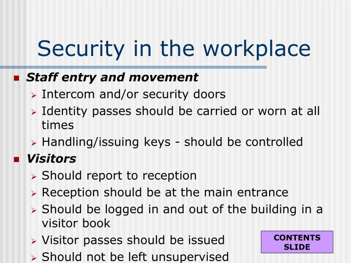 Security in the workplace