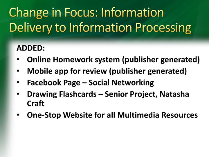 Change in Focus: Information Delivery to Information Processing