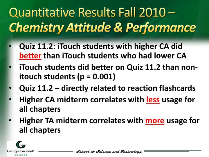 Quantitative Results Fall 2010 –