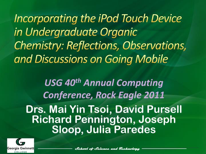 Incorporating the iPod Touch Device in Undergraduate Organic Chemistry: Reflections, Observations, a...