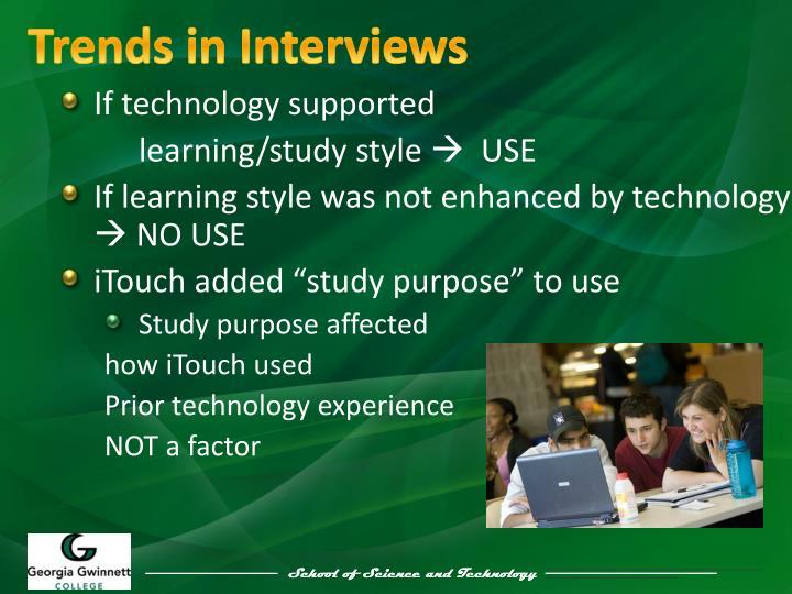 Trends in Interviews