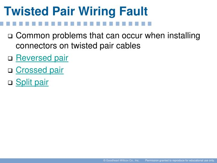 Twisted Pair Wiring Fault