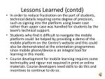 lessons learned contd