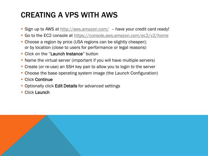 Creating a VPS with AWS