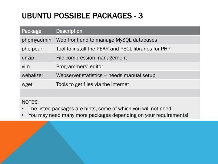 Ubuntu Possible packages - 3
