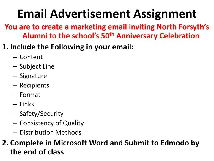 Email Advertisement Assignment