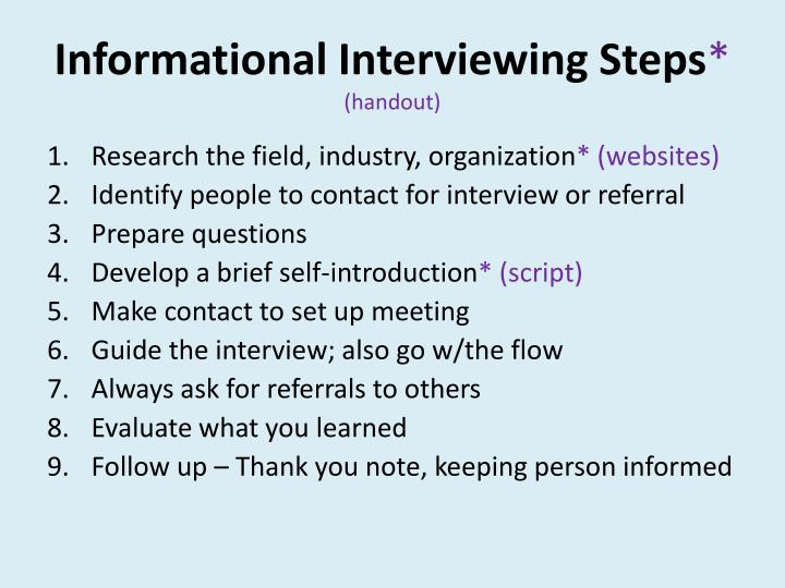 Informational Interviewing Steps