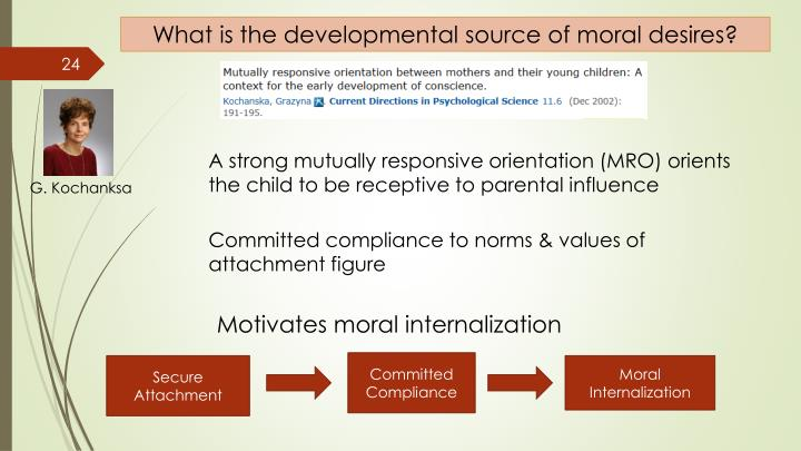 What is the developmental source of moral desires?