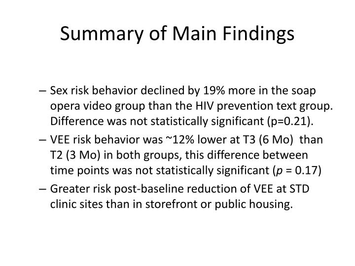 Summary of Main Findings