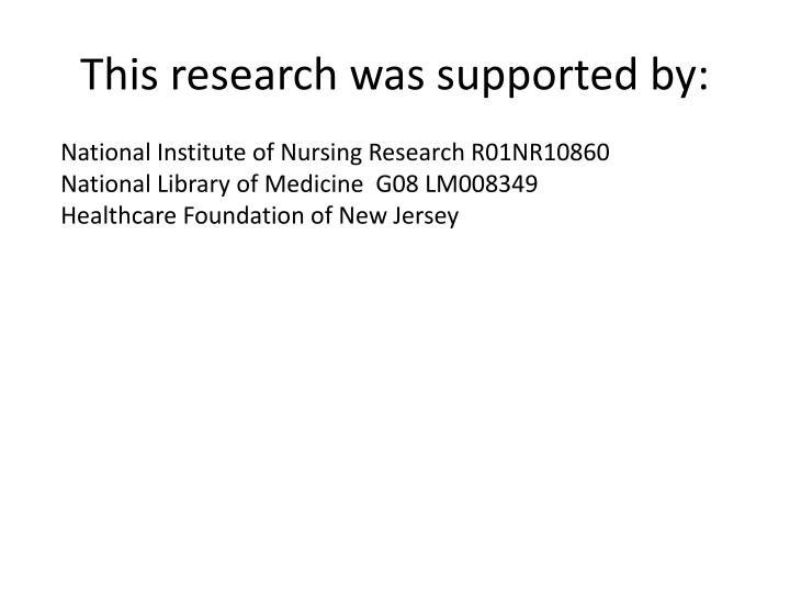 This research was supported by