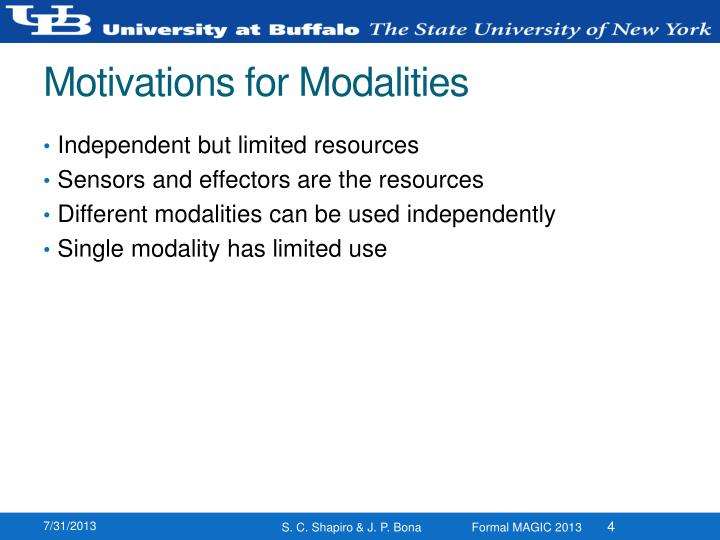 Motivations for Modalities