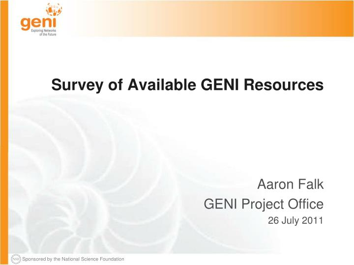 survey of available geni resources n.