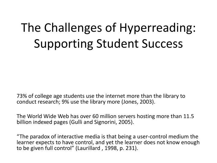 the challenges of hyperreading supporting student success n.