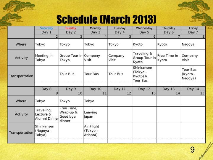 Schedule (March 201