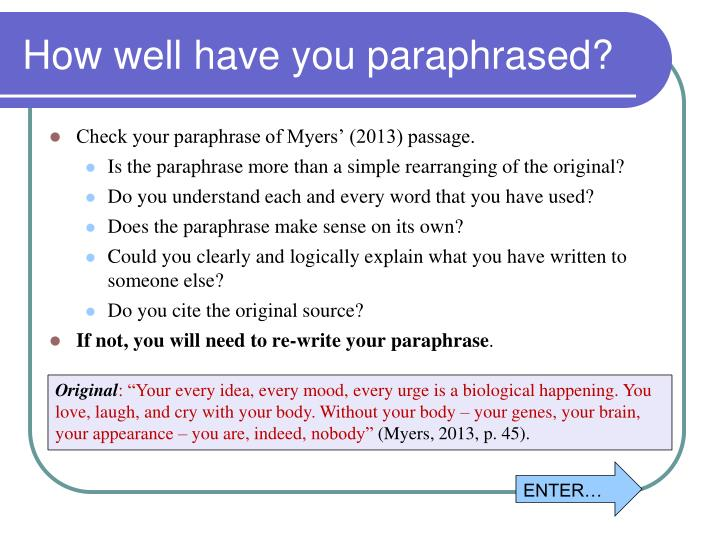 How well have you paraphrased?