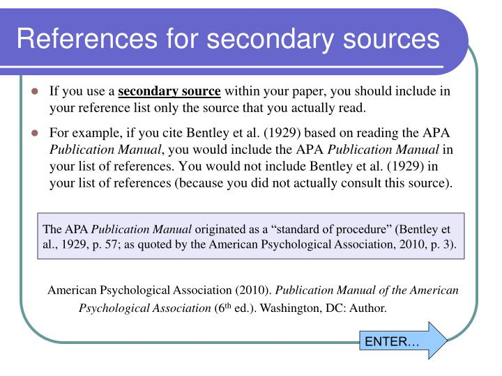 References for secondary sources