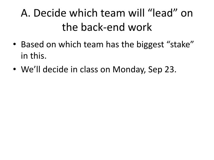 A decide which team will lead on the back end work