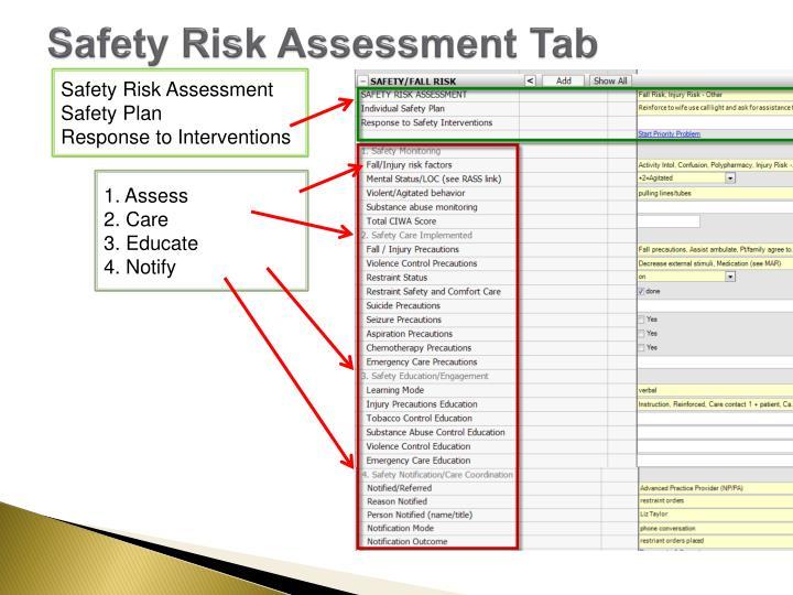 Safety Risk Assessment Tab