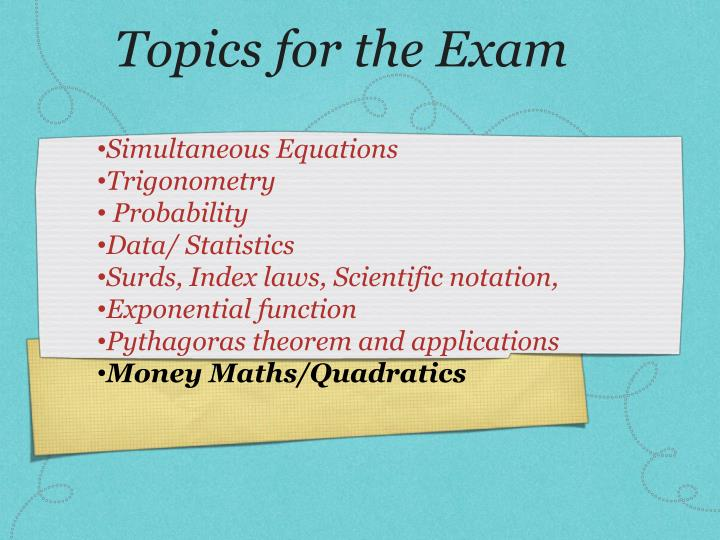 topics for the exam n.
