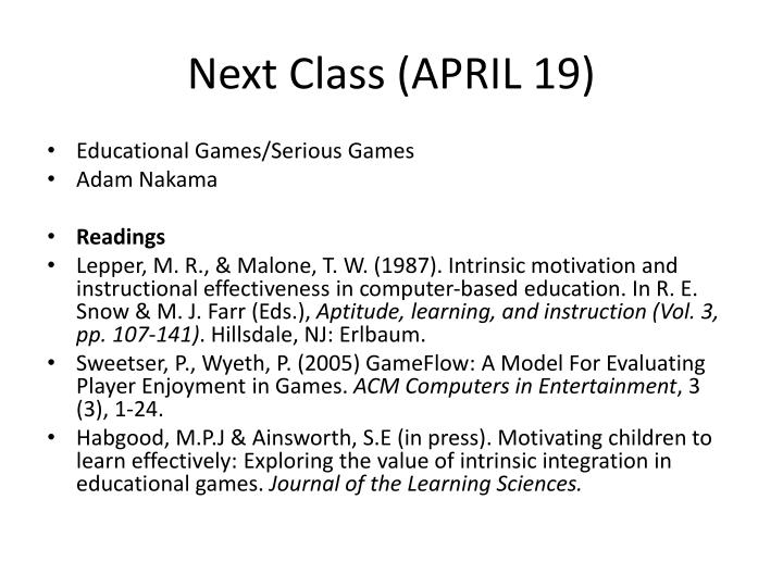 Next Class (APRIL